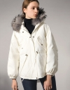 Padded Canvas Jacket With Faux Fur Hood