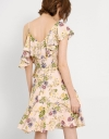 Floral One Shouldered Ruffled Dress