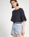 Gathered Lace Sleeve T-Shirt