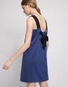 V-Neck Knit Shift Dress With Self-Tie Back
