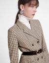 Houndstooth Coat With Ruched Pocket