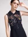 A-Line Dress With Contrast Floral Print