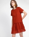 Shift Dress With Layered Embroidered Hem