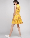 Floral Printed A-Line Dress With Lace Panel