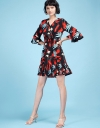Floral Wrap Dress With Pleated Hem