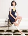 Lace-Trimmed Color Block Shift Dress