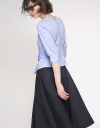 Sleeved Striped Blouse With Belt