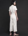 Sleeved Wide-Leg Jumpsuit With Button Front