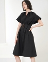 Sleeved Midi Dress With Belt