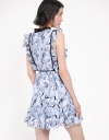 Lace Printed Dress With Ruffles