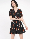 Printed Dress With Ruched Sleeves