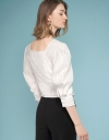 Sleeved Mesh Top With Button Detail