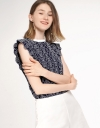 Embroidered Top With Ruffled Sleeves