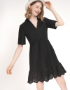 Sleeved A-Line Dress With Pleated Hem