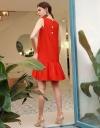 Sleeveless Shift Dress With Gathered Hem