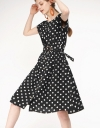 Elasticated Dotted Dress With Belt