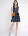 Dotted Dress With Contrast Panel