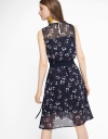 Belted Dress With Contrast Floral Back