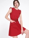 Mesh-Trimmed Belted Dress With Pockets