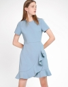 Sleeved Dress With Flouncy Hem