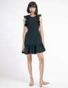 Striped Ribbed Dress With Smocking Detail