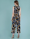 Abstract Printed Jumpsuit With Belt