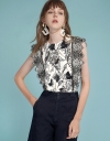 Abstract Printed Top With Embroidered Detail