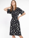 Layered Printed Dress With Wrap Front