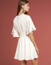 Ribbed Smocked Dress With Petal Sleeves