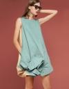 Color Block Dress With Asymmetric Hem