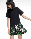 Shift Dress With Printed Pleated Hem