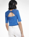 Sleeved Knit Top With Cut-Out Back