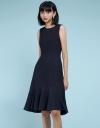 Ribbed Dress With Asymmetric Flouncy Hem