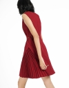 Ribbed Belted Dress With Pleated Detail