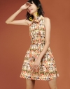Printed Belted Dress With Cross-Back