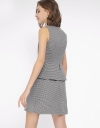 Houndstooth A-Line Dress With Ruffles