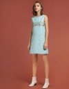 Tweed Shift Dress With Floral Panel