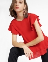 Ruffled Top With Pleated Hem
