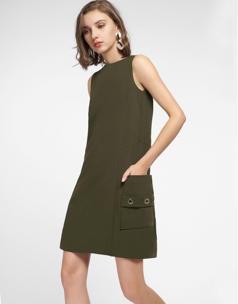 Shift Dress With Side Pockets
