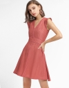 Mesh A-Line Dress With Waist Panel