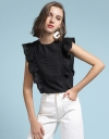 Embroidered Top With Ruffled Detail