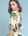Floral Tied Top With V-Neck Back