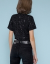Sequined Sleeved Top With Gathered Detail