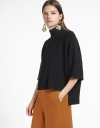 Oversized Sleeved Top With Asymmetric Hem