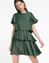 Sleeved Shift Cascading Dress