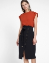 Midi Skirt With Button Front