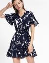 Shift Printed Dress With Gathered Hem