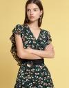 V-Neck Printed Midi Dress