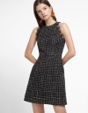 Lace-Trimmed Tweed Dress