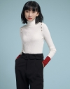 High Neck Knit Blouse With Button Detailing